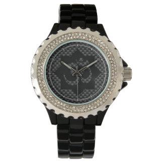 OM Symbol Lotus Spirituality Carbon Fiber Decor Wristwatch