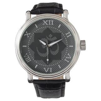 OM Symbol Lotus Spirituality Carbon Fiber Dial Wristwatches