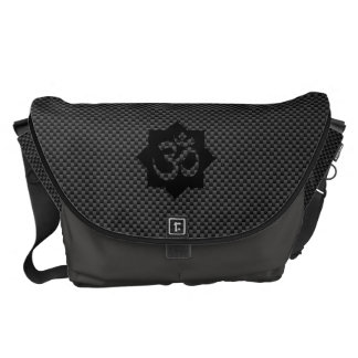 OM Symbol Lotus Spirituality in Carbon Fiber Style Courier Bag