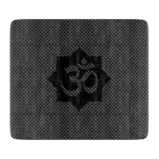 OM Symbol Lotus Spirituality in Carbon Fiber Style Cutting Board