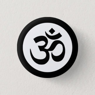 Om Symbol on Black and White Badge 1 Inch Round Button