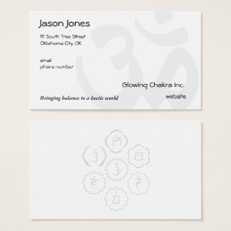 Om Symbol on front, 7 Chakras in a Circle on back Business Card