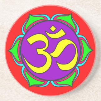 om symbol sacred Buddhism religion zen yoga flower Coaster