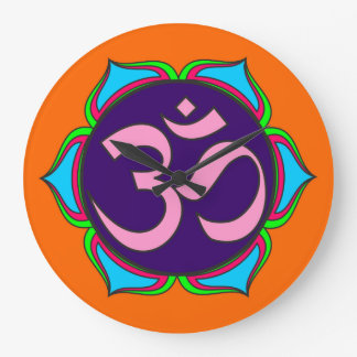 om symbol sacred Buddhism religion zen yoga flower Large Clock