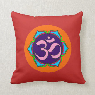 om symbol sacred Buddhism religion zen yoga flower Throw Pillow