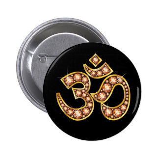 """Om Symbol with """"Amber"""" or """"Topaz"""" Stones Buttons"""