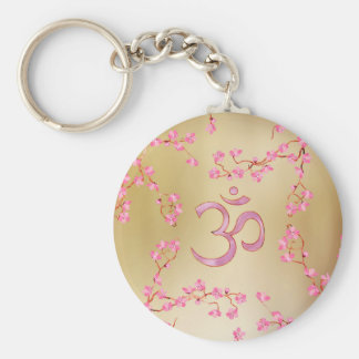 OM symbol  with gentle pastel pink flower tree Keychain