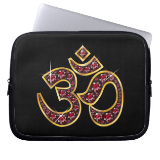 """Om Symbol with """"Ruby"""" Stones Laptop Sleeve"""
