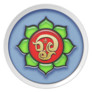 Om (Tamil) Red, Green, Blue Plate