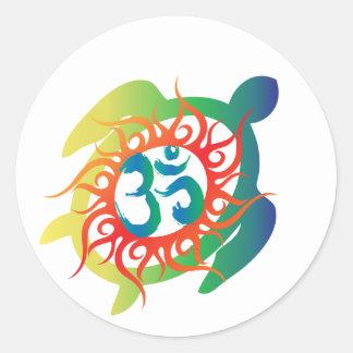 Om-Tatto-Vibrant-Turtle Classic Round Sticker