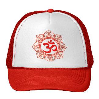 OM TRUCKER HAT - RED LOTUS CHAKRA OM YOGA HAT