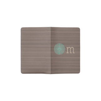 Om turquoise wood grain brown stripes pocket moleskine notebook