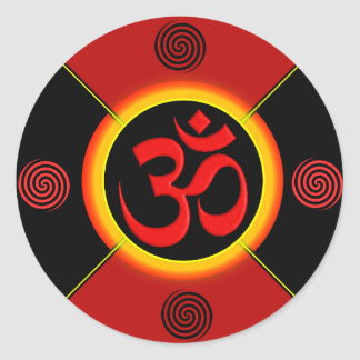 OM Yantra Red/Black/Gold Classic Round Sticker
