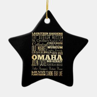 Omaha City of Nebraska State Typography Art Ceramic Star Ornament