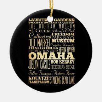 Omaha City of Nebraska State Typography Art Round Ceramic Ornament