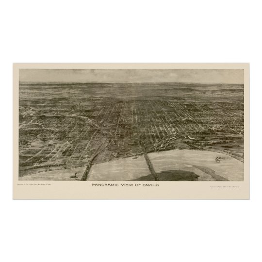 Omaha, NE Panoramic Map - 1906 Poster