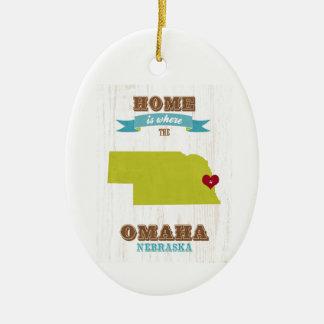 Omaha, Nebraska Map – Home Is Where The Heart Is Ceramic Ornament