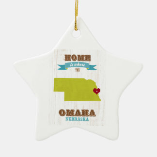 Omaha, Nebraska Map – Home Is Where The Heart Is Ceramic Star Ornament