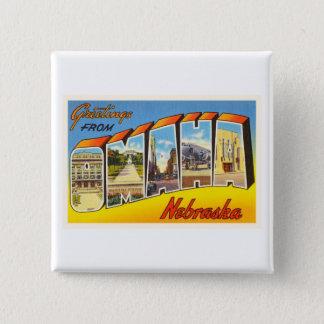 Omaha Nebraska NE Old Vintage Travel Souvenir 2 Inch Square Button