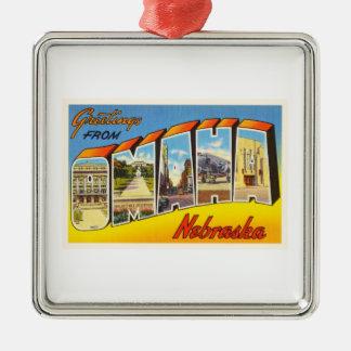 Omaha Nebraska NE Old Vintage Travel Souvenir Silver-Colored Square Ornament
