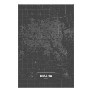 Omaha, Nebraska (white on black) Poster