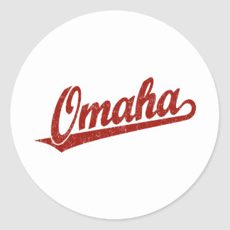 Omaha script logo in red distressed classic round sticker