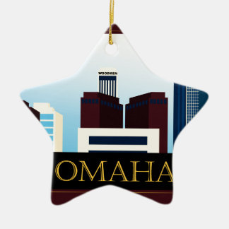 Omaha Skyline Ceramic Ornament