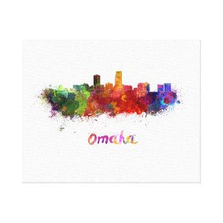Omaha skyline in watercolor canvas print