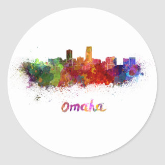 Omaha skyline in watercolor classic round sticker