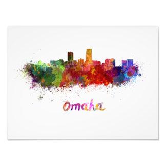 Omaha skyline in watercolor photo print