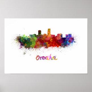 Omaha skyline in watercolor poster