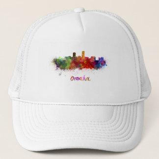 Omaha skyline in watercolor trucker hat