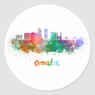Omaha V2 skyline in watercolor Classic Round Sticker