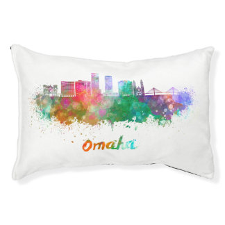 Omaha V2 skyline in watercolor Pet Bed