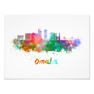 Omaha V2 skyline in watercolor Photo Print