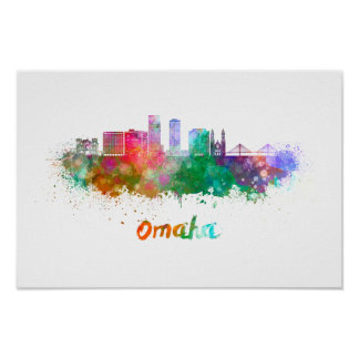 Omaha V2 skyline in watercolor Poster