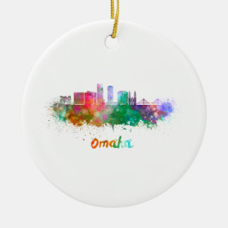 Omaha V2 skyline in watercolor Round Ceramic Ornament