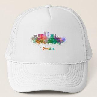 Omaha V2 skyline in watercolor Trucker Hat