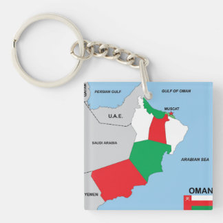 oman country political map flag district region acrylic key chains