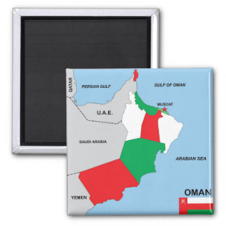 oman country political map flag district region square magnet