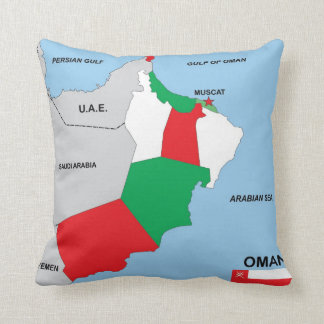 oman country political map flag district region throw pillows