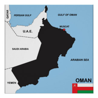 oman country political map flag district region posters