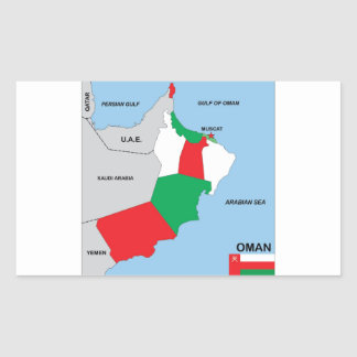 oman country political map flag district region rectangle sticker