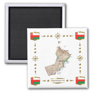 Oman Map + Flags Magnet