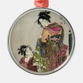 Omando – Ogie Oiyo and Takeji by Utamaro Silver-Colored Round Ornament