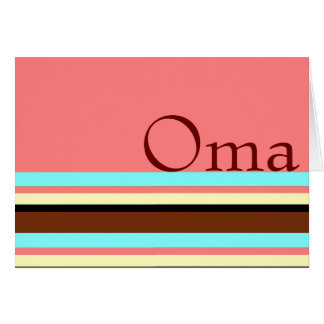 Oma's Cream blue brown pink Card