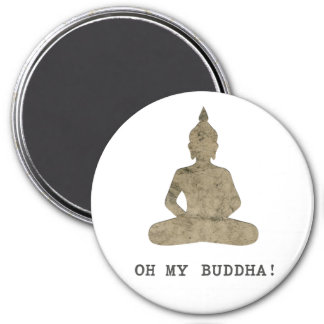 OMB Oh My Buddha Funny Silhouette 3 Inch Round Magnet