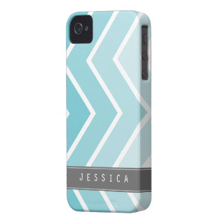 Ombre Aqua Zig Zag Chevrons Pattern iPhone 4 Covers