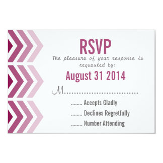 Ombre Arrows Modern Chevron Wedding RSVP Card