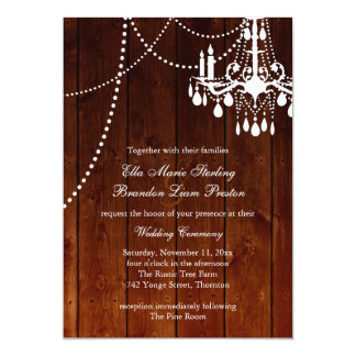 Ombre Barn Chandelier Wedding Invitation